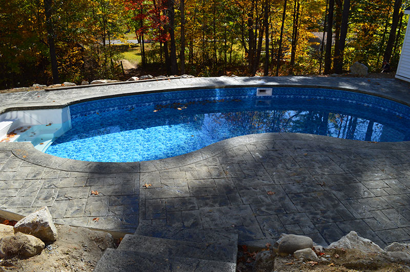 Kidney Pool with Stamped Patio